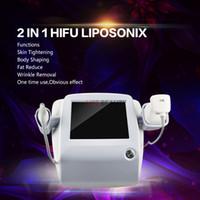 2 في 1 HIFU الوجه المضادة للتجاعيد الجسم التخسيس ليبوسونيكس آلة عالية الكثافة التركيز الموجات فوق الصوتية Lipo مكافحة السيلوليت الخسارة Weigth مع 5 خراطيش