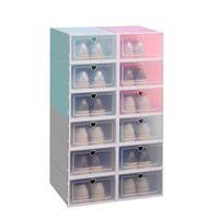 Claro plegable zapatos Caja de almacenamiento de plástico apilables Espesar Zapatos Organizador Caja apilable ahorro de espacio a prueba de polvo de la caja