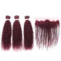 부르고뉴 레드 버진 브라질 인간의 머리카락은 정면 변태 곱슬 99J 레드 와인 3 팩 번들 13x4 레이스 정면 폐쇄와 함께 4pcs