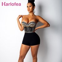 Karlofea Fashion Women Diamonds Rompers Sexy Strapless Bodyc...