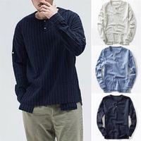 2020 caliente Henley para hombre verano caliente algodón ocasional de lino camiseta tops manera ocasional floja Nueva Franja de manga larga Camiseta
