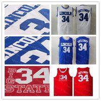 Billig Männer Jesus 34 Jesus Shuttlesworth Jersey Lincoln Er bekam Spiel Film Basketball Mesh Jerseys blau weiß rot 100% genähtes Hemd gut
