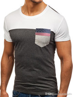 Флаг лента Карманной Мужской Tshirts Мода лето вокруг шее мужской с коротким рукавом Топы Каузальных дышащих тройников