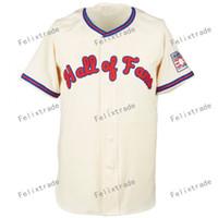 Hombres Mujeres Juventud Hall of Fame 2019 Hof Crema Jerseys de béisbol camisa de doble costura de alta calidad Envío gratis al por mayor