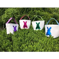 Easter mermaid sequince Rabbit Basket Easter Bunny Bags Rabbit Impreso Canvas Tote Bag Caramelos de huevo Cestas 4 colores
