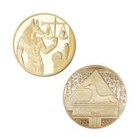 مطلية بالذهب مصر حامي الموت أنوبيس عملة نسخ العملات المصري إله الوفاة عملات تذكارية جمع هدية DHL النقل البحري