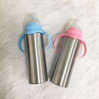 8 унций изолированный двойной стенкой тумблер из нержавеющей стали Sippy чашки детские водой кружка детская молочная бутылка с ручкой
