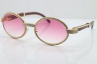 Wholesale-2019 النظارات الخشب الكامل الإطار الكامل نظارات الماس 7550178 نظارات شمسية جولة خمر للجنسين مصمم نظارات العلامة التجارية الراقية الحجم: 55