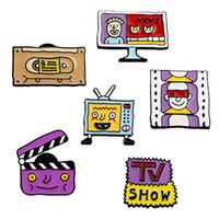 Креатив ТВ экран Брошь 6 Стиль Мультфильм Tv Show видеокассета Fun Сплав фиолетовая Фильм брошь Женщина Декоративная игла Pin DHL