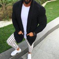 الرجال البلوزات 2021 أزياء متماسكة معطف يتأهل طويل الأكمام الصلبة الصوف الصوف المريح جيب سترة التلبيب عارضة سترة