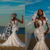 2020 Sexy Cap africano manicotti della sirena Abiti da sposa pura girocollo merletto di Applique Backless Abiti da sposa Plus Size abito da sposa