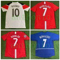 Üst 2007/2008 Retro Futbol Formaları Vintage Klasik Ronaldo 7 Rooney 10 Scholes 18 Ferdinand 5 Camisa 2010/11 Futbol Gömlek Kitleri Camiseta Futbol Gömlek MAILLOT DE 2009