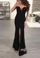 2019 블랙 머메이드 댄스 파티 드레스 정면 슬리퍼 입은 이브닝 드레스 섹시한 Strapless 정장 패트리 가운 미스테리 가운 BC0507