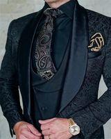 Heißer Verkauf Groomsmänner Schal Revers Bräutigam Smoking One Button Männer Anzüge Hochzeit / Prom / Abendessen Bester Mann Blazer (Jacke + Pants + Krawatte + Weste) K136