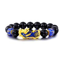 Cuentas de ágata negro natural chapado en oro 3D cambio de color Pixiu encanto chino Feng Shui joyería animal