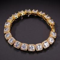 Hip Hop Bling monili delle catene Mens Iced Out diamante Tennis catena braccialetto di alta qualità piazza zircone collane 7inch-24inch Epacket