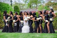 2020 섹시한 아프리카 분할 신부 들러리 드레스 믹스 스타일 오프 어깨 플러스 사이즈 긴 하녀 명예 댄스 파티 드레스