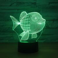 Дешевые рыбы 3d светодиодные ночные свет 7 цвет сенсорный коммутатор светодиодные фонари пластиковые лампа иллюстрации 3d USB столовая ночная светлая атмосфера новинка освещение