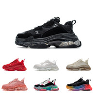Mujeres Hombres zapato Papá Zapatos casuales Crystal Bottom Triple S Zapatillas de ocio para Vintage Old Grandpa Trainer Chaussures con caja Tamaño 35-45
