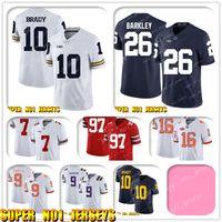 524 NCAA 10 Tom Brady 26 Saquon Barkley Penn State College Football Jersey Mitchell Trubisky Nick Foles Khalil Mack Mike Ditka Eddie