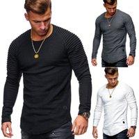 라글란 소매 남성 의류 판매 남성 s 의류 라운드 넥 슬림 솔리드 컬러 긴 소매 티셔츠 스트라이프 주름