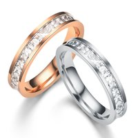 Stainless Steel Ring Rose Gold Diamond Ring Zircon Rings Cou...