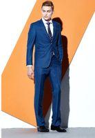 Fashion Blue Groom Tuxedos Excellent Notch Lapel Groomsmen Wedding Jacket Blazer Men Formal Prom Dinner Suit(Jacket+Pants+Tie) 1201