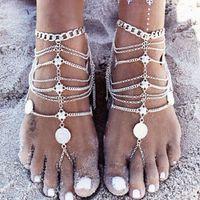 Mode Sommer Böhmische Sexy Quaste Anklet Armband Für Frauen Münze Anhänger Kette Knöchel Armbänder Strand Braut Fuß Schmuck Sandalen Barfuß