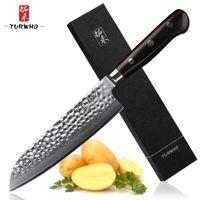 TURWHO 7 '' عالية الجودة اليابان الشيف سكين VG-10 دمشق الصلب سكين Santoku برو التعامل مع اللحوم الفاكهة المطبخ الخضار سكين