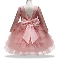 Vestido de las muchachas del bebé del arco grande niña de las flores vestidos de los cabritos para la muchacha de la princesa fiesta de cumpleaños vestido de gala vestido de noche ropa de los niños
