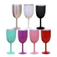10oz copos de vidro de vinho tinto copos de aço inoxidável copos de vidros de taute dupla parede isolado metal cálice com tampa copo Durable drinkware caneca