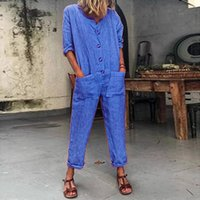Spring Womens Baggy Jumpsuit Pantalones Ladies Loose Crew Neck Playsuit Romper Mujer Manga larga Solid Buttom Jumpsuit Romper