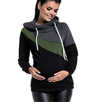 35b9e4ea17a6b Plus Size Pregnancy Nursing Long Sleeves Maternity Clothes Hooded  Breastfeeding Tops Patchwork T-shirt For Pregnant Women Y190525