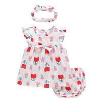 Manches 100% coton Summer Baby Girl + Tops Shorts + Turban 3PCS Vêtements Sets fruits roses Sets de mode d'été Imprimer