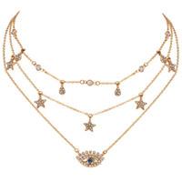 Weinlese-Stern Blicks-Anhänger-Halsketten-Goldfarbe für Frauen böhmische Kristall Charme-mehrschichtiger Halskette Halsbänder Strand-Party Schmuck DHL