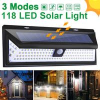 스트리트 정원 장식을 위해 118 LED 태양 빛 야외 태양 램프 모션 센서 태양 전원 스포트 라이트 3 모드 벽 햇빛