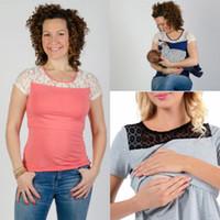 صيف جديد إمرأة الأمومة التمريض الملابس الرضاعة الطبيعية القمم كم قصير تي شيرت الرباط المرقعة طبقة مزدوجة الحوامل سيدة