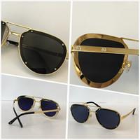 خمر ماركة مصمم نظارات للرجال النساء النساء الفاخرة الرجعية بدون شفة إطار النظارات الذهب شكل أعلى جودة نظارات uv 400 عدسة 01945