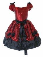 Rotes schwarzes bogen viktorianisches gotisches lolita abendkleid cosplay kostüm gemacht