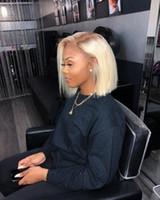 Полный парик шнурка Straight 613 Blonde бразильский Remy человеческих волос Боб парик с волосами младенца Pre щипковых Hairline