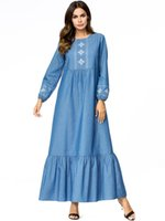 Large Size Frauen lösen Denim-Stickerei-Maxi-Kleid Robe Muslim Abaya Jubah Ramadan Türkisch arabische islamische Gebet Kleidung Mode