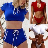 Solid Due Pezzi Swimsuit legare bikini delle donne del T-shirt Swimwear spinge verso l'alto a vita alta conservatore Tankini Set donne costume da bagno