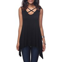 New Spring Summer Womens Front chest Cross V- neck Sleeveless...