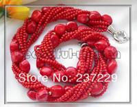 Regalo de las mujeres palabra Amor Precio al por mayor ^^^^ BW0037 8row 4mm collar de cuentas de coral rojo 18 pulgadas