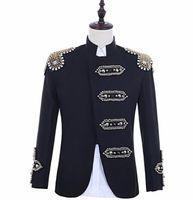 Promoción loca Negro lentejuelas blazer hombres trajes diseños chaqueta para hombre cantantes escenario danza estilo estrella vestido punk masculino homme