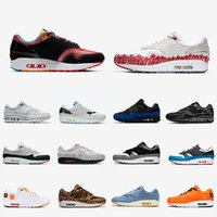 Nike air max 1 airmax 1 shoes  Maze Bred 1s Hommes Femmes Chaussures 1 Anniversaire Royal Patch Atomic Sarcelle Parra Porto Rico 87 Baskets Air Pour Hommes Baskets De Sport 36-45