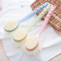 2 en1 long bain Brosse Brosse pour le dos de massage de bain naturel brosse à poils doux avec poignée en plastique FFA3998-1