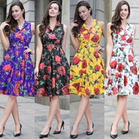 4591859f6 Wholesale china clothes resale online - women dresses Women Clothes Floral  print Sleeveless Belt Fashion China