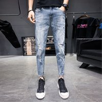 Spring New Skinny Jeans Men Fashion Wash Retro Tear Hole Den...