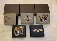 High quality men animal Short Wallet Leather black snake Tig...